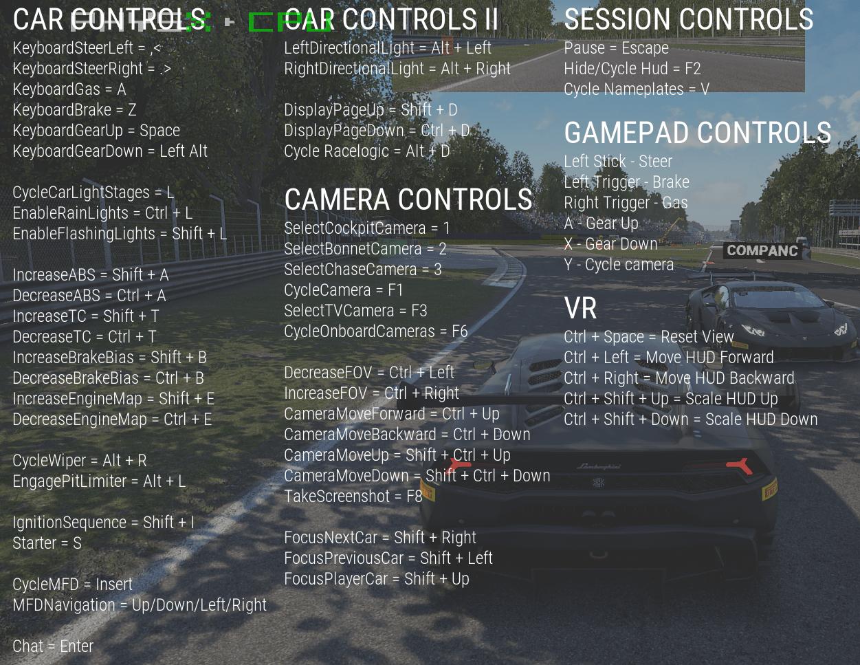 Assetto Corsa Competizione PC Keyboard Controls | MGW: Game